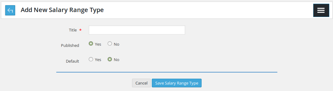 Add New salary range type