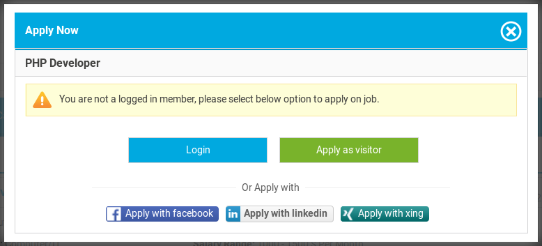 Job Apply popup
