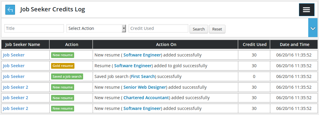 Job Seeker Credits Log