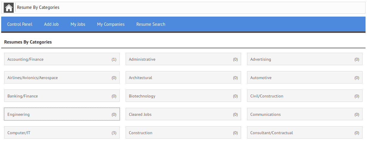 Resumes By Categories | JoomSky Documentation