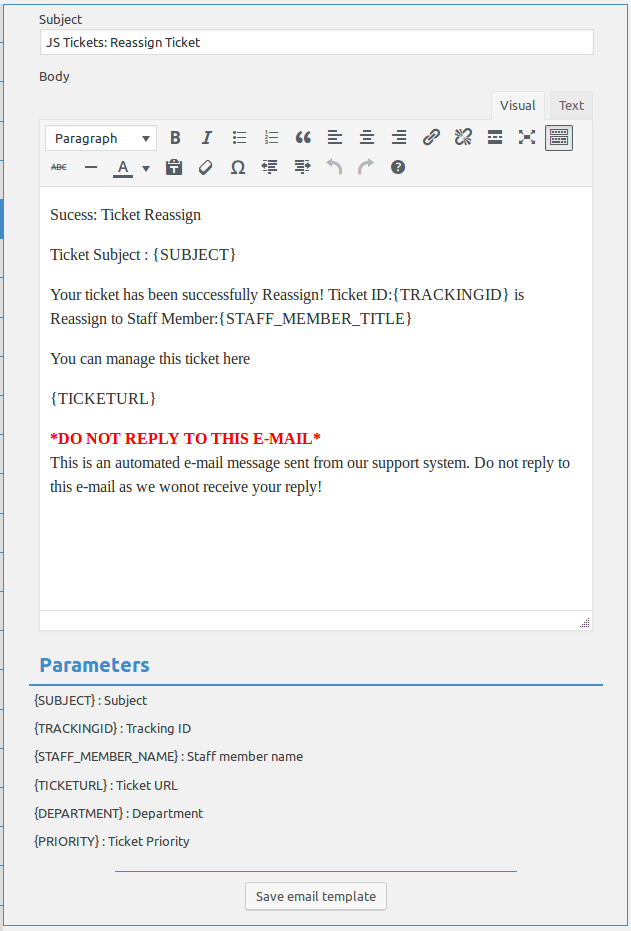 New Ticket Email Templates